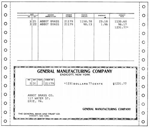 Sample output from an IBM 407 accounting machine. Character spacing is much more natural than the earlier 402 output. Sprocket-fed forms are now common. Figure 128 from Manual of Operation.