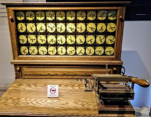Hollerith Electric Tabulating System (replica). Cards were manually fed into the reader on the right, and results were counted on the dials.