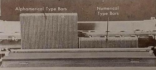"The IBM 405 accounting machine printed with type bars: 43 alphanumeric (""alphamerical"") type bars on the left, and 45 numeric-only type bars on the right. From Electric punched card accounting machines."
