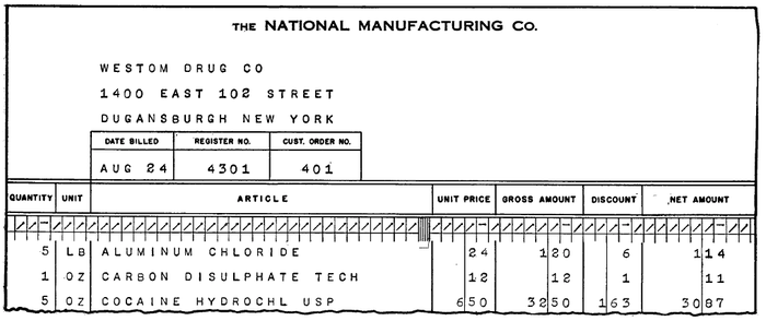 Output from the IBM 405 tabulator, showing a billing statement. Apparently cocaine was a common product back then. (Electronic Accounting Machines page 17-19.)