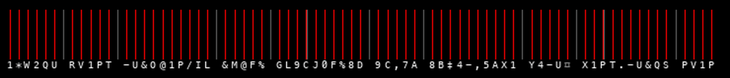 Timing diagram for the note B5. Each red line indicates a printed character.