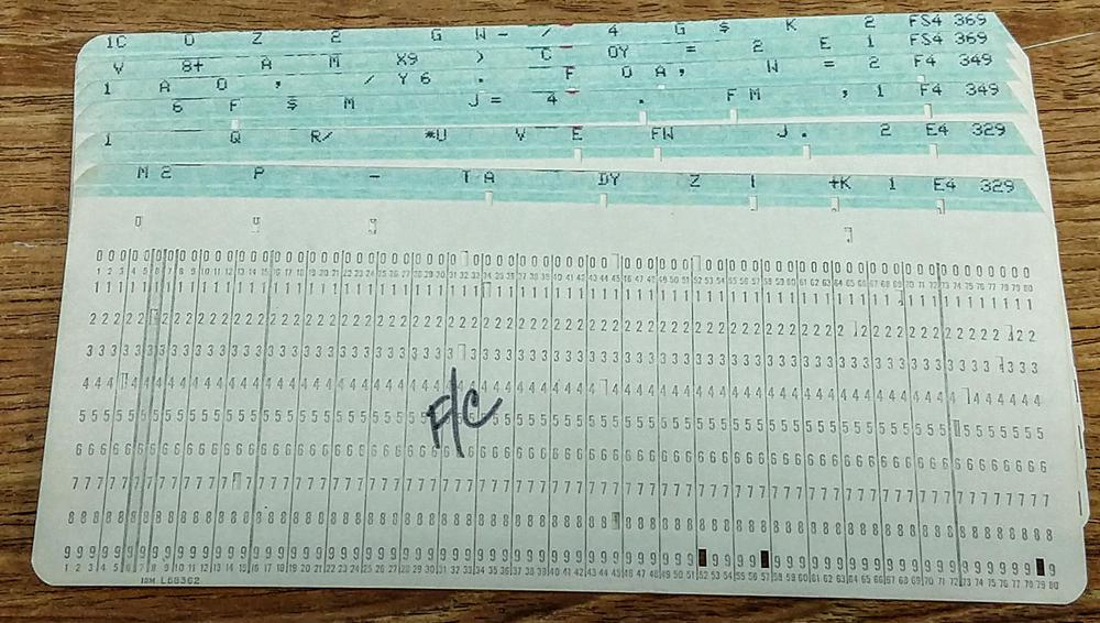 Frequency cards. Each pair of cards defines the 132-character print line that generates the specified note. At the right, the card is punched with the note name (e.g. E4) and frequency (e.g. 329 Hz). The notation F/C labels the first card in the deck.