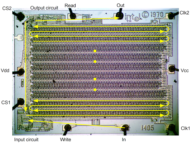 Labeled die shot of the Intel 1405 MOS 512-bit shift register memory.