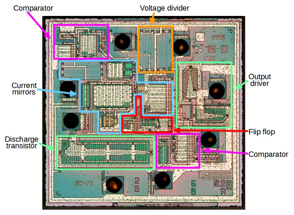 reverse engineering the popular 555 timer chip (cmos version)functional blocks in the lmc555 chip