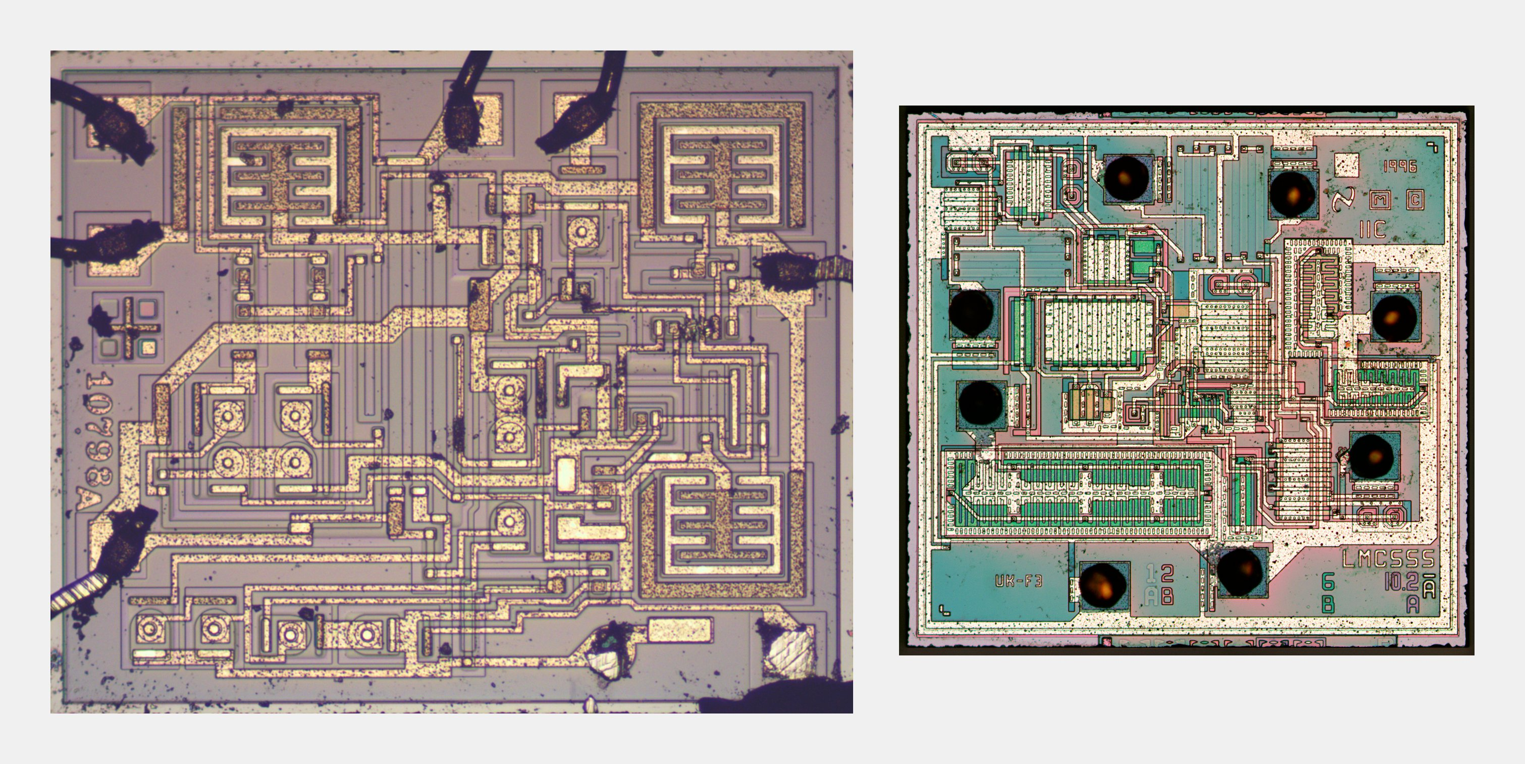 Reverse Engineering The Popular 555 Timer Chip Cmos Version Circuit Description Of Present Can Be Understood Die Photos Left And Right