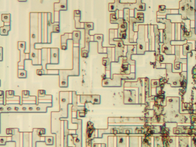 The diffusion layer of the 6502, zoomed in on the overflow circuit. The white strips show transistor gates.