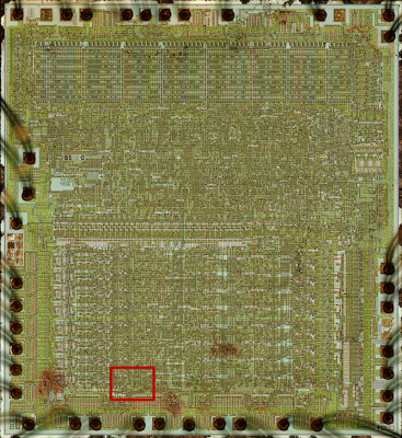 Photomicrograph of the 6502. The following diagrams zoom in on the red box, where the overflow circuit is located.