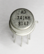 The 741 op amp, packaged in a TO-99 metal can.
