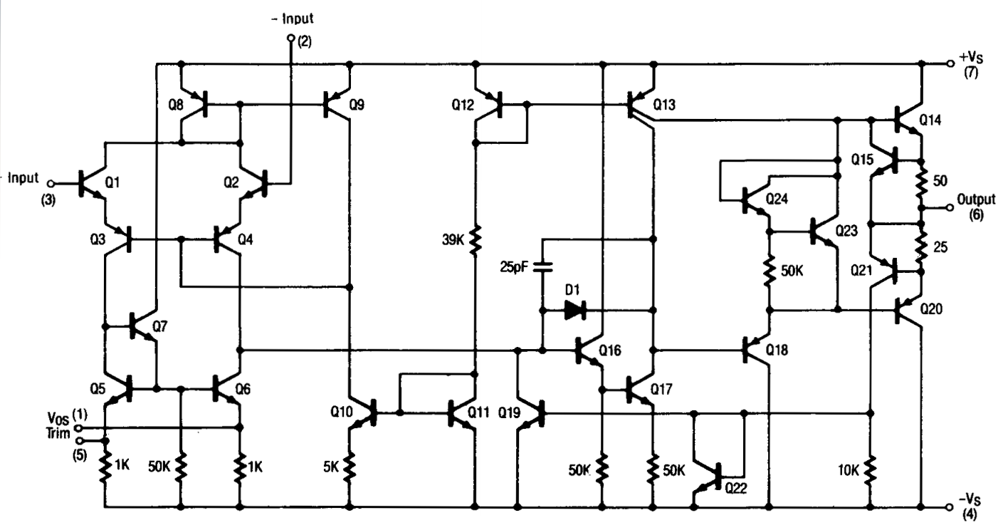 Understanding Silicon Circuits Inside The Ubiquitous 741 Op Amp Transistor Amplifier Circuit Design Schematic Diagram