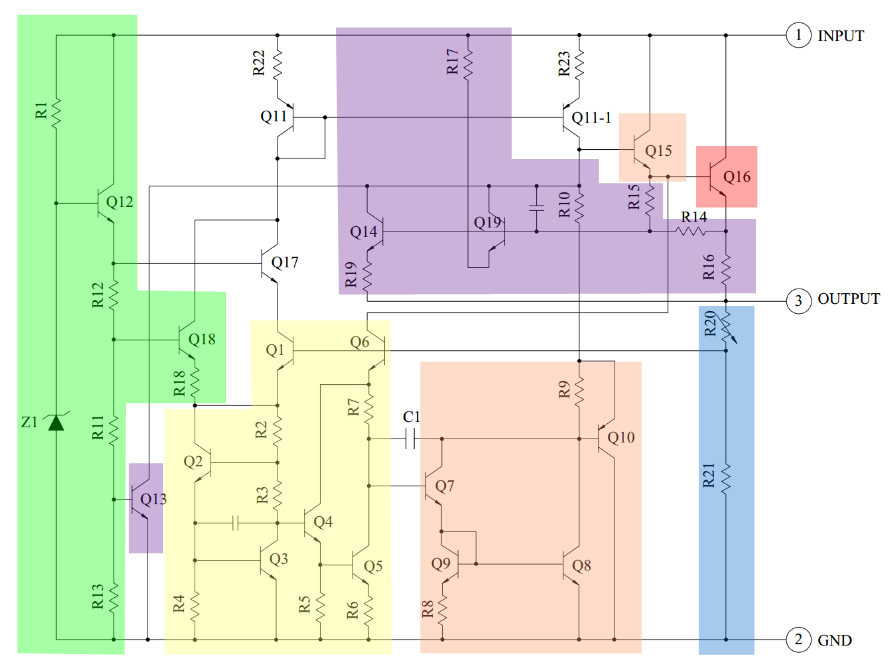 circuit diagram of 7805 voltage regulator