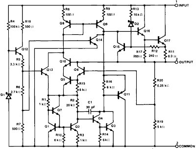 Internal schematic of the Signetics µ¼A7805 regulator from the datasheet.