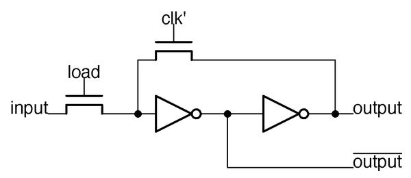A one-bit latch in the 8086's ALU.
