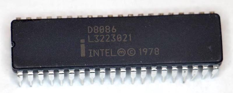 The package of the fake 8086. It is labeled as an Intel 8086 from 1978.