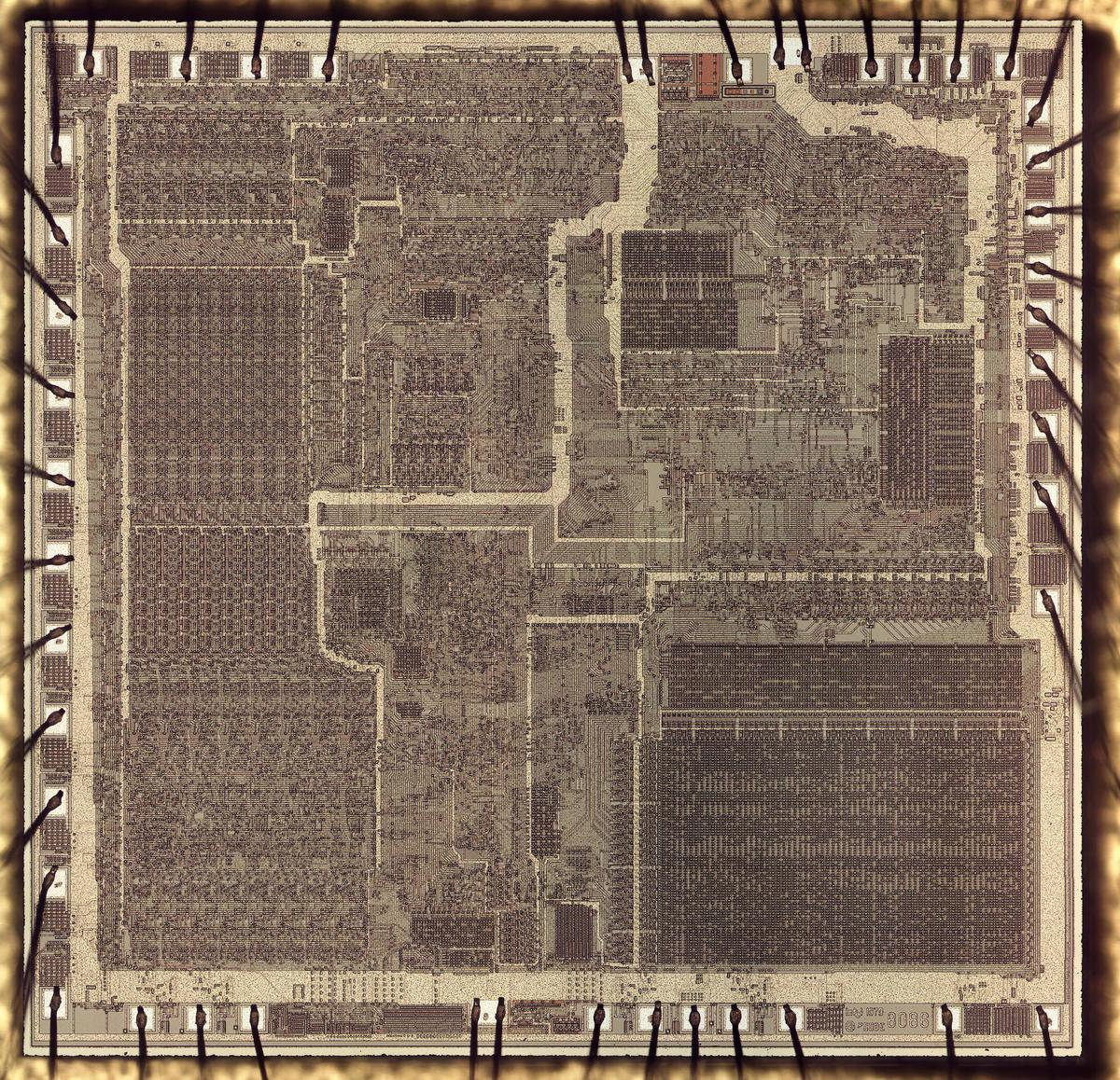 Die photo of a genuine 8086 chip.