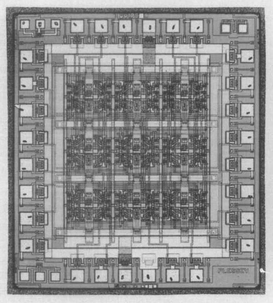 """A Plessey ULA die. From """"Computer Aided Design and New Manufacturing Methods for Electronic Materials"""", 1985."""