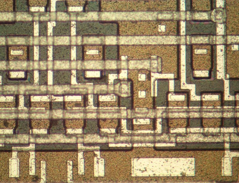 A closeup of the fake chip showing transistors.