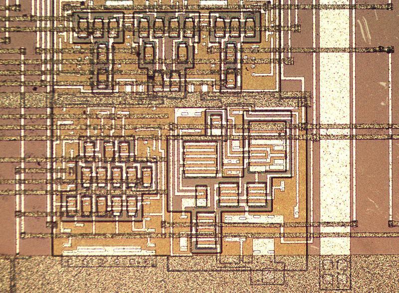Detail of the fake 8086, showing transistors, resistors, and metal wiring.