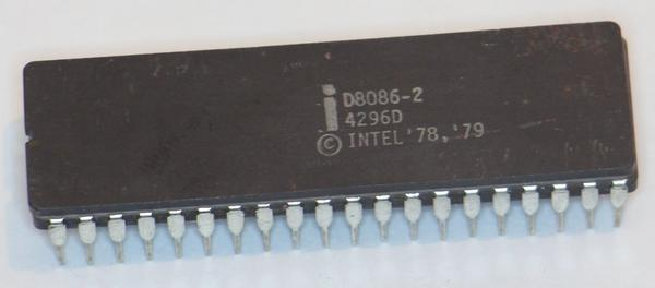 The 8086 chip, in 40-pin ceramic DIP package.