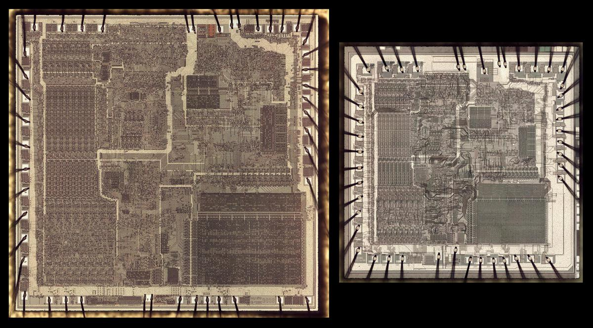 Two versions of the 8086 die, at the same scale. The die on the right is a later version of the 8086, reduced in size.