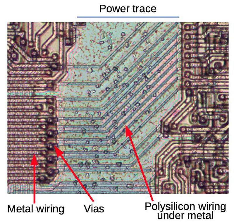 Signals in the metal layer crossing under the power line by using polysilicon crossunders.