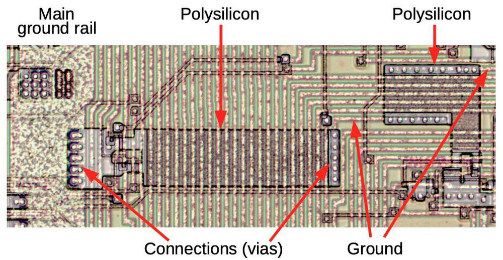 Composite photo showing polysilicon crossunders for ground that pass under signal lines.