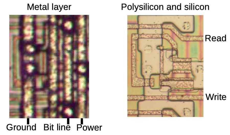A register storage cell. The photo on the left shows the metal layer, while the photo on the right shows the corresponding polysilicon and silicon underneath. The bright circles on the metal layer are vias connected to the circles on the silicon.