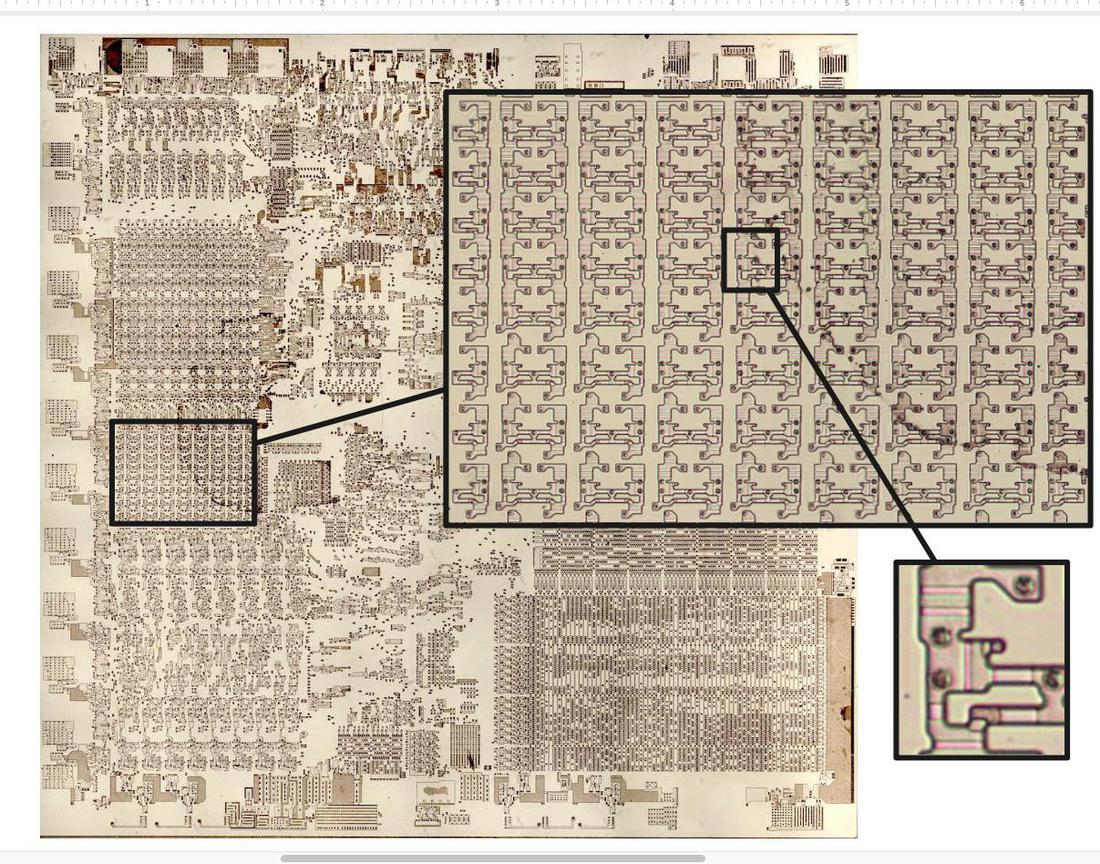 Die photo of the 8086, zooming in on the lower register file (eight 16-bit registers) and then a single register cell. The metal and polysilicon were removed for this photo to show the silicon structures.