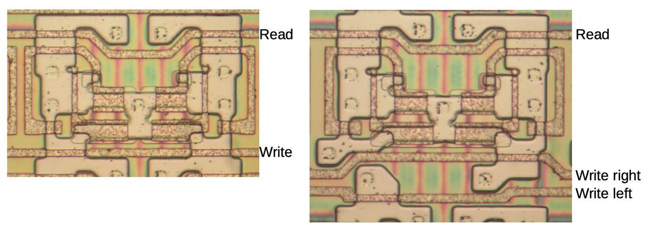 Two pairs of memory cells, showing different circuitry. The left cells have a single write line, while the right cells have separate write lines for the left and right bits.