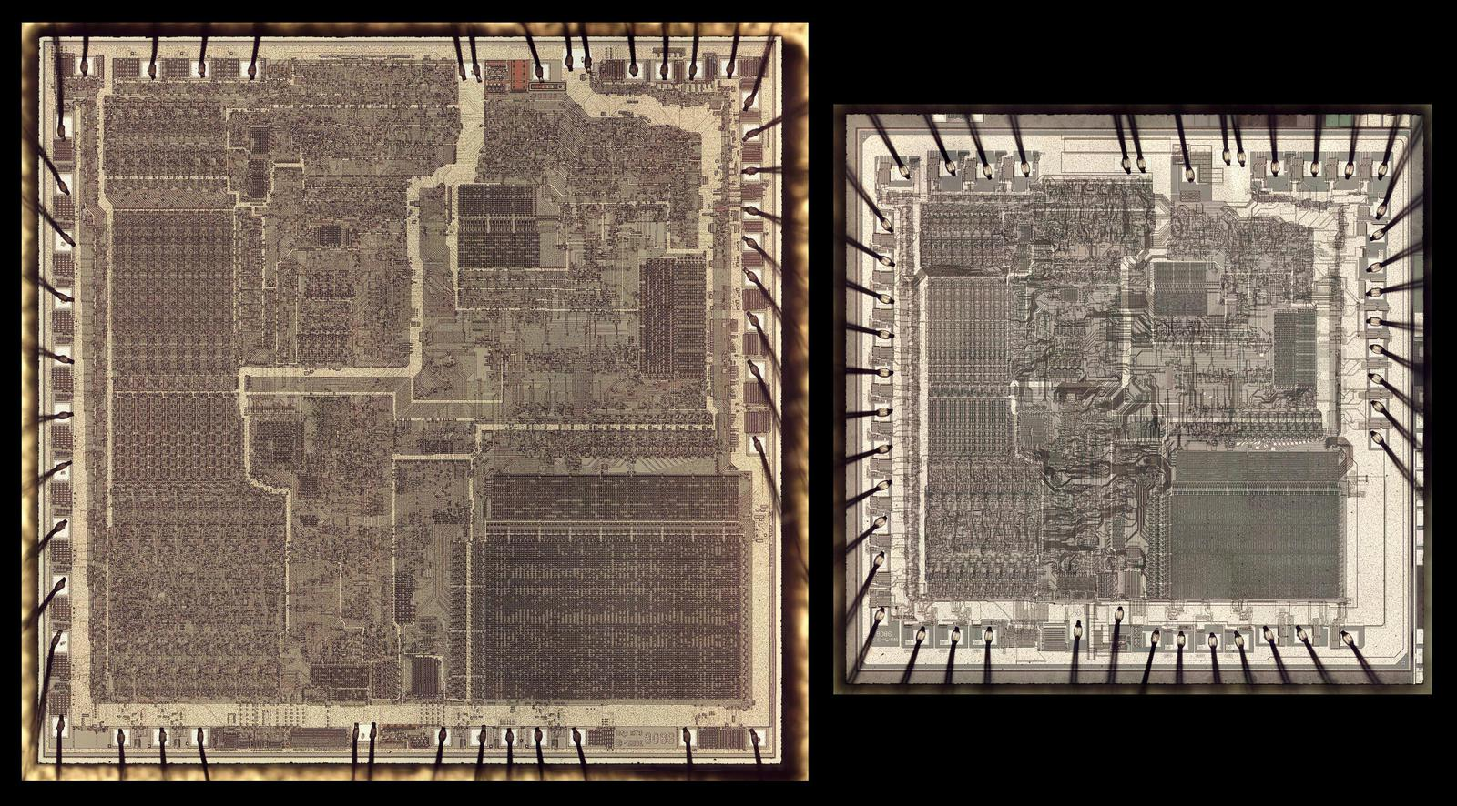 Two versions of the 8086 die, at the same scale. The bond wires are connected to pads around the edge of the die.