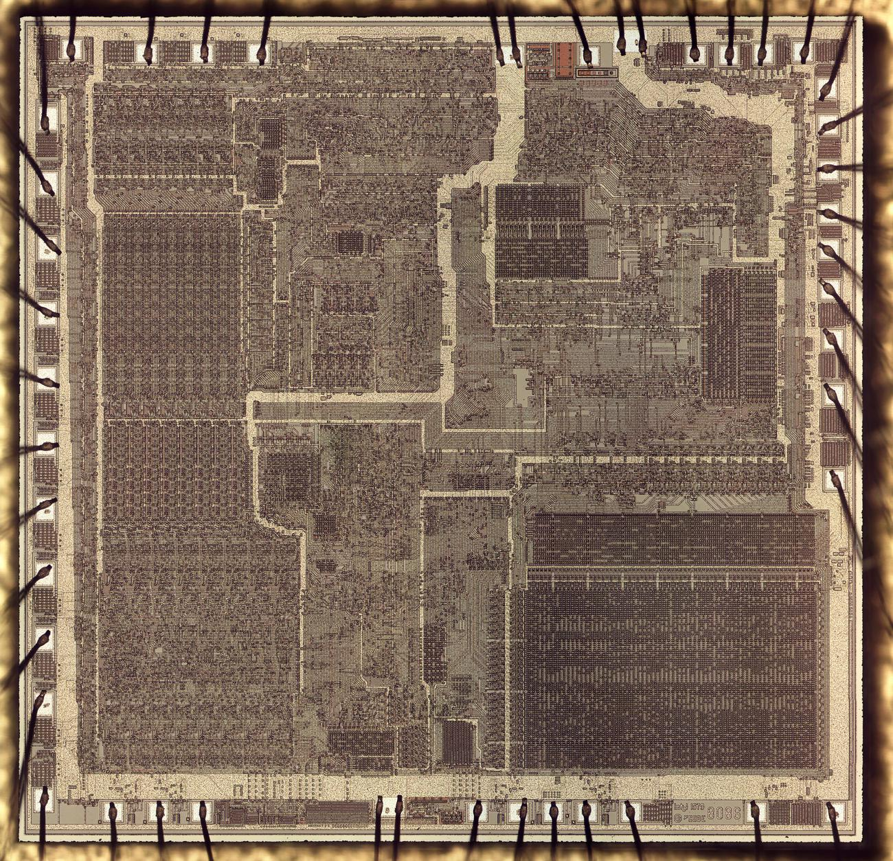 Die photo of the 8086 microprocessor. The ALU and registers are on the left. The microcode ROM is in the lower right. Click for a high-resolution image.