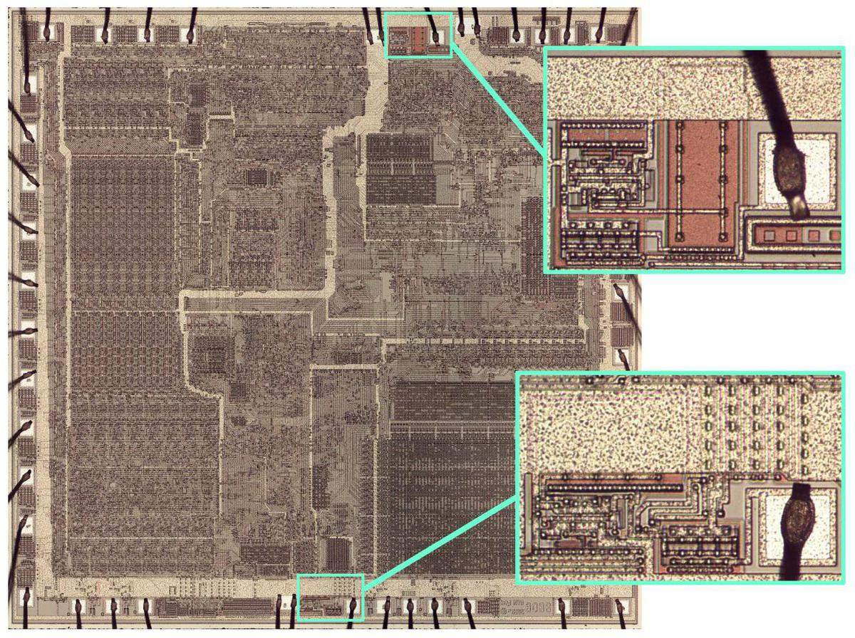 Die photo of the 8086 microprocessor, zooming in on the two substrate bias generators.