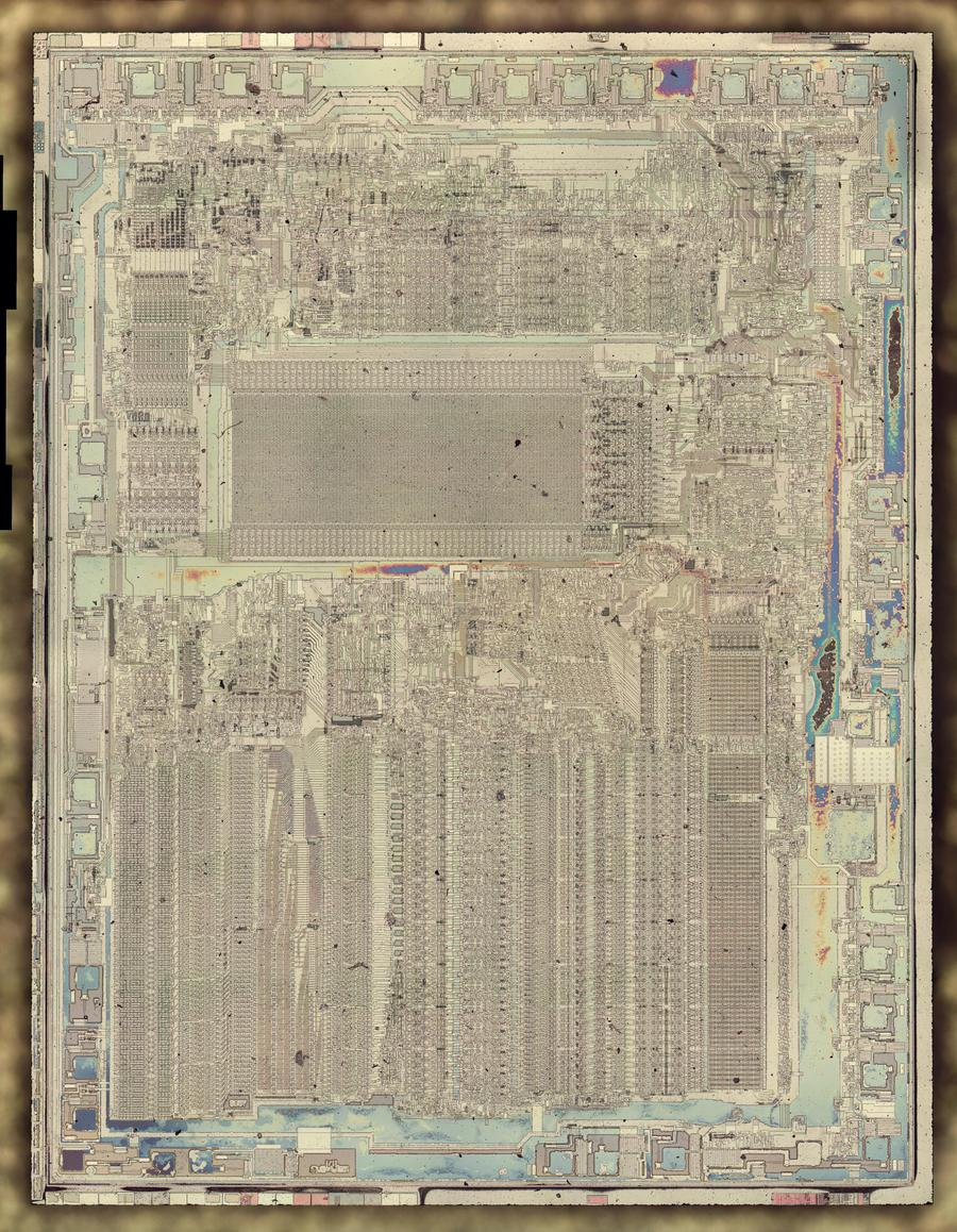 Die photo of the 8087 with the metal layer removed. Click for a larger image.