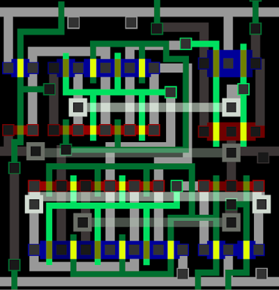 A full-adder circuit in the ARM1 processor, as it appears in the Visual ARM1 simulator.