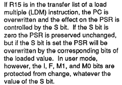 The ARM manual explains how flags are updated by the LDM block transfer instruction.
