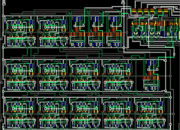 The bit counter circuit from the ARM1 processor chip. This circuit counts the number of registers selected by the LDM/STM instructions.
