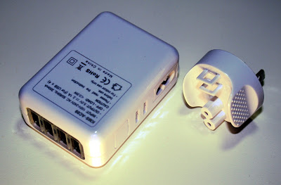 KMS 4-port USB charger with plug detached