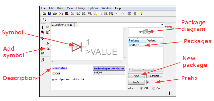 How to create a new schematic symbol in the Eagle editor