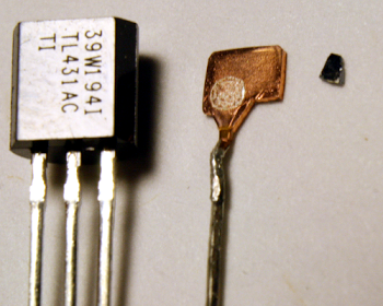 The TL431 package, the internal anode, and most of the die.