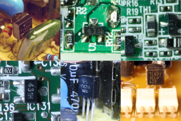 Six examples of power supplies using the TL431. Top row: cheap 5 volt power supply, cheap phone charger, Apple iPhone charger (uses TL431 and 'GB9' variant). Bottom row: MagSafe power adapter, KMS USB charger, Dell ATX power supply (with optoisolators in front)