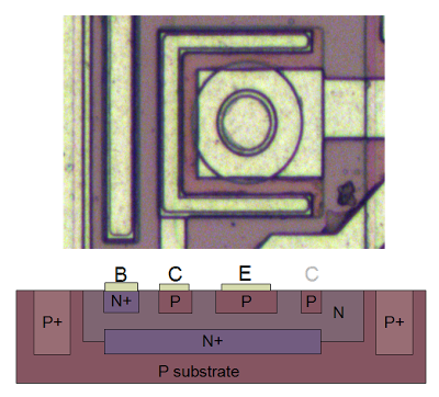 Structure of a PNP transistor in the TL431 chip.