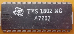 The TMS 1802 calculator chip, first chip in the TMS 0100 series. Photo courtesy of datamath.org.