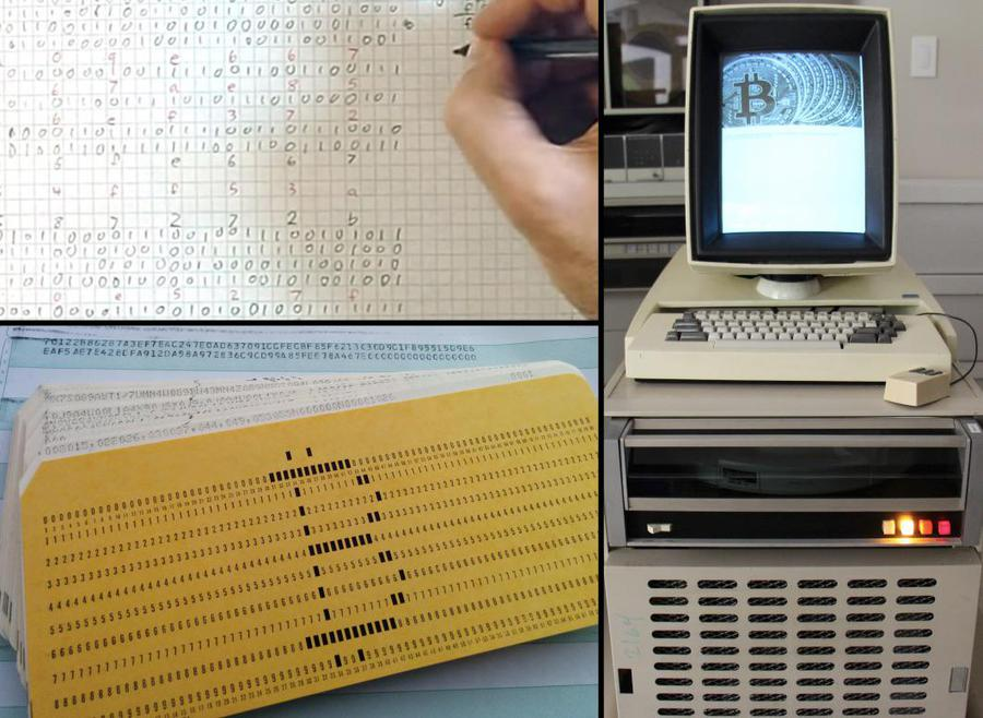 My Bitcoin mining experiments by hand, on a punch-card mainframe, and on a Xerox Alto.