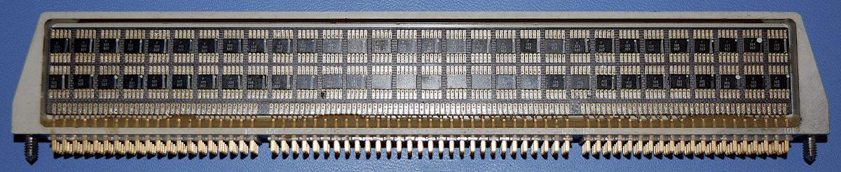 A logic module from the Apollo Guidance Computer. The module consists of 120 integrated circuits, each one implementing two NOR gates. Photo courtesy of Mike Stewart.