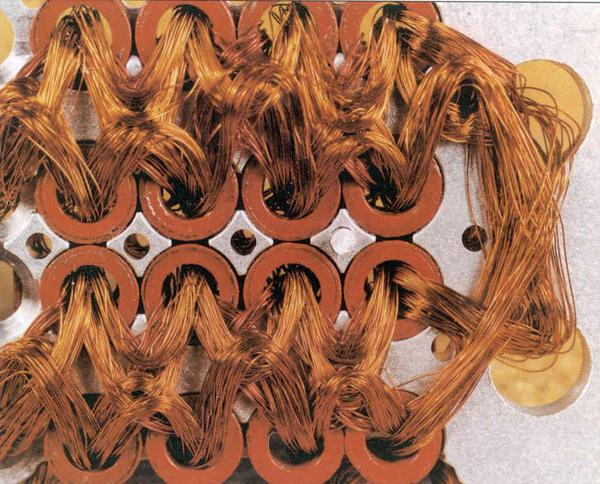 Detail of core rope memory wiring from an early (Block I) Apollo Guidance Computer. Photo from Raytheon.
