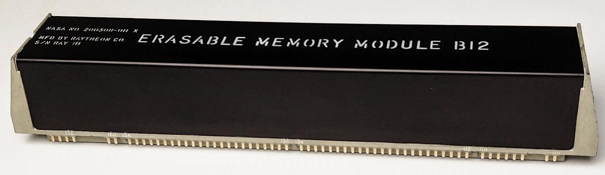 The erasable core memory module from the Apollo Guidance Computer. This module holds 2 kilowords of memory, with a tiny ferrite core storing each bit. To read memory, high-current pulses flip the magnetization of the cores, erasing the word.