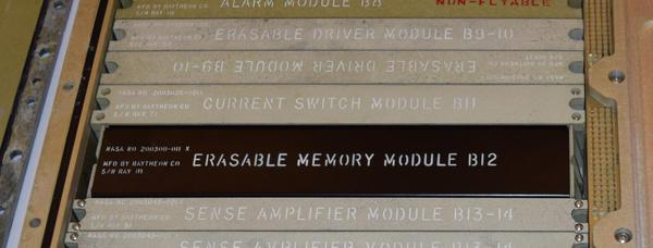 The erasable memory module in the Apollo Guidance Computer, with the supporting modules next to it. Image courtesy of Mike Stewart.