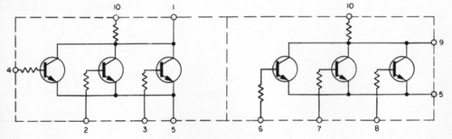 Each IC contains two NOR gates implemented with resistor-transistor logic. From Schematic 2005011.