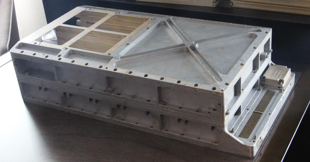 The Apollo Guidance Computer. The empty space on the left held the core rope modules. The connectors on the right linked the AGC to the rest of the spacecraft.