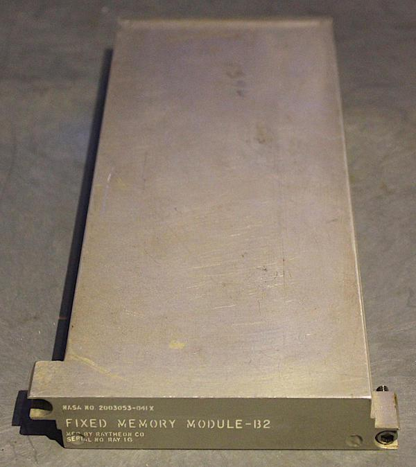 This core rope module held the Retread 50 software for the Apollo Guidance Computer. This module is from the Computer History Museum.