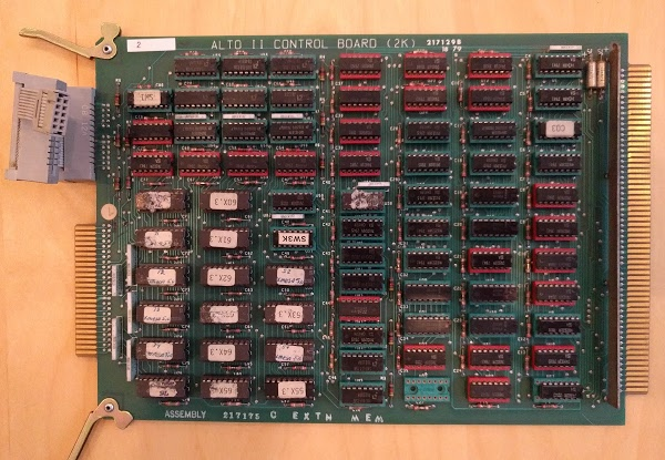 The Alto's Control board is part of the CPU. This board contains 2K words of microcode ROM, as well as control circuitry.